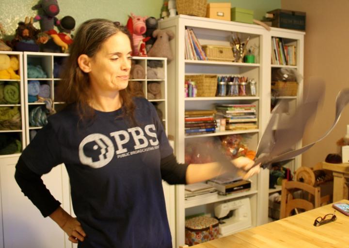 Marie Spaulding in her home studio, working on a set of DIY Fairy Wings