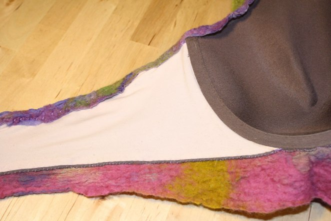 nuno felt art bra, work in process by Marie Spaulidng