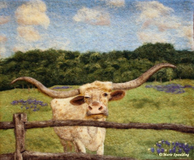 felted landscape with longhorn